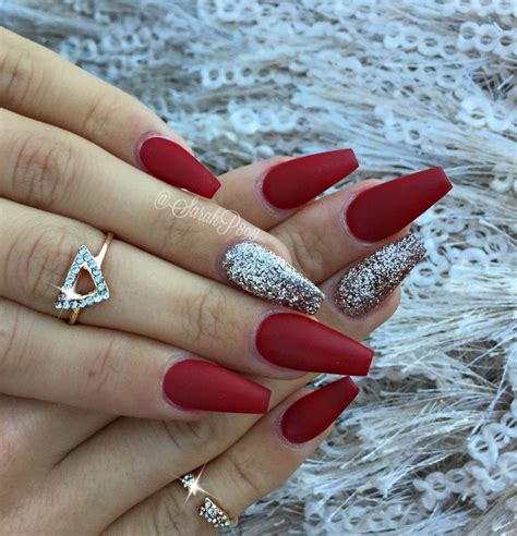 short red coffin nails prettyprettyfingers pinterest long red coffin nails newyearsnails glamandglits by
