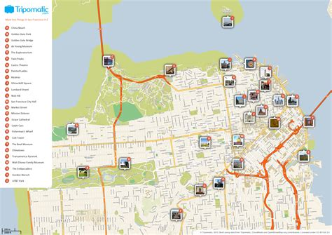 map of attractions maps update 21051488 map of san francisco tourist