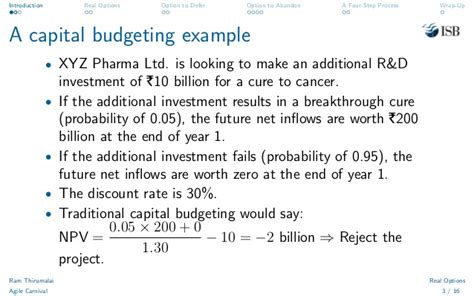 Capital Budgeting Techniques Mba Notes by Real Options Decision By Ramabhadran S Thirumalai