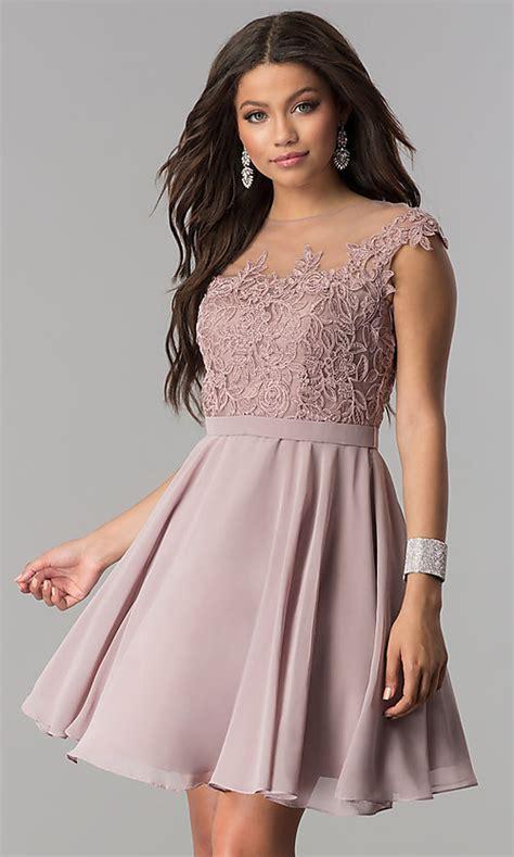 lace bodice short chiffon party dress promgirl
