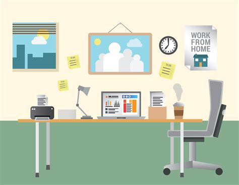 office desk equipment working from home vector with desk and office equipment
