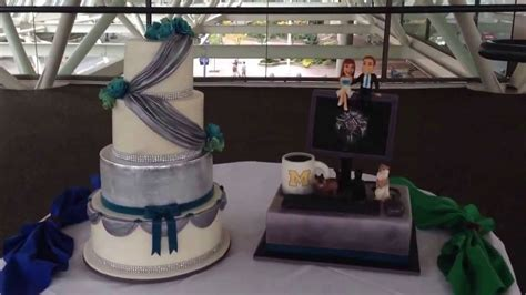 silver and blue wedding cake with world of warcraft quot fun