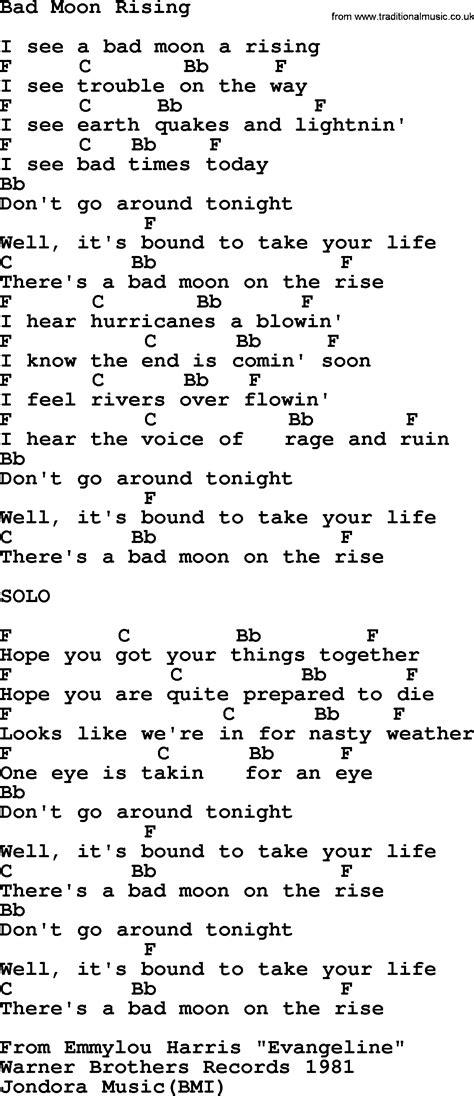 moon lyrics emmylou harris song bad moon rising lyrics and chords
