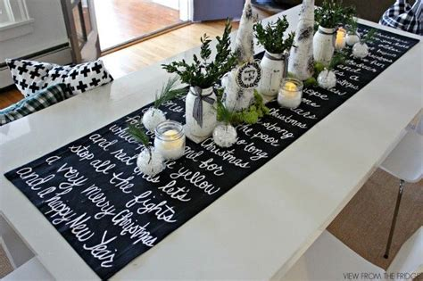 holiday runner ideas black and white christmas song lyric runner