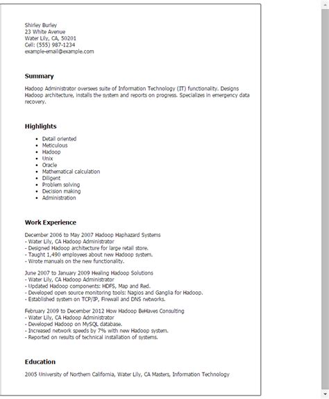 Hadoop Resume by Hadoop Administrator Resume Template Best Design Tips