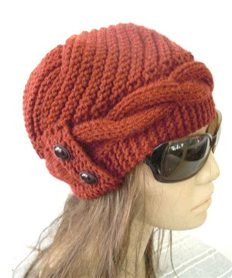 knit winter hat knit hat winter hat womens hat cloche hat in rust