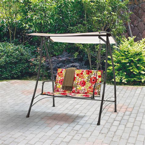 mainstays outdoor swing mainstays 2 person padded swing floral ebay