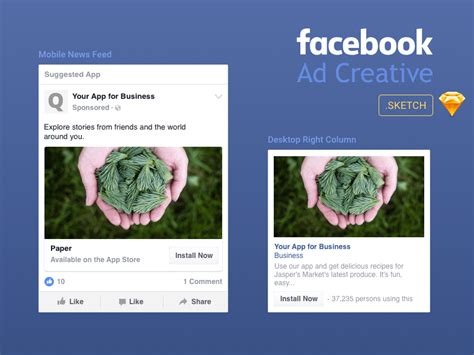 facebook ad creative template freebie download sketch