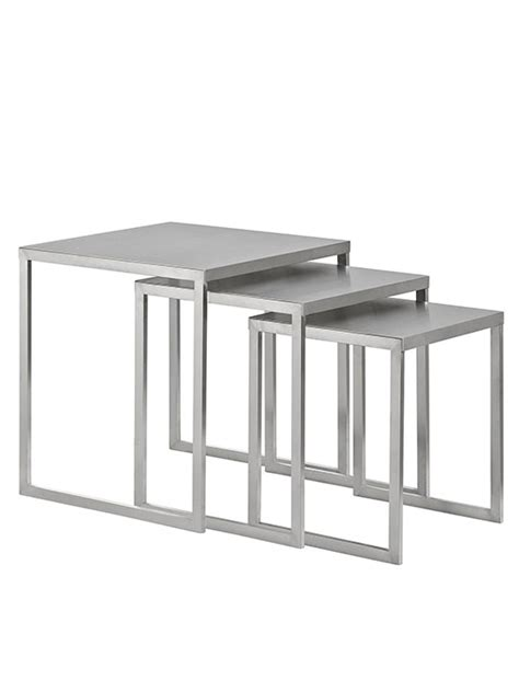 Stainless Steel Nesting Table Set   Modern Furniture