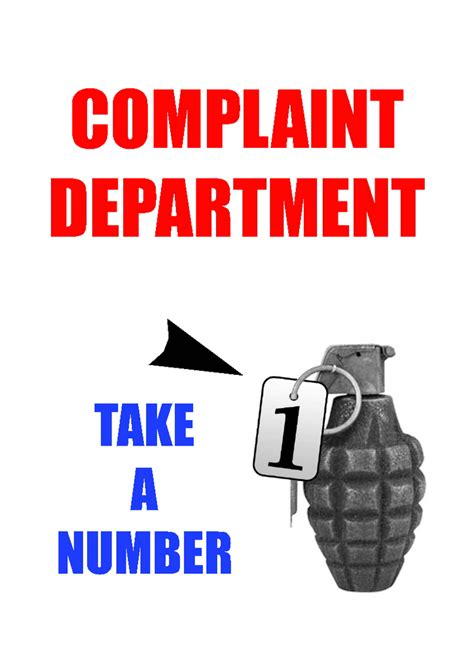 Complaint Department by Printable Signs