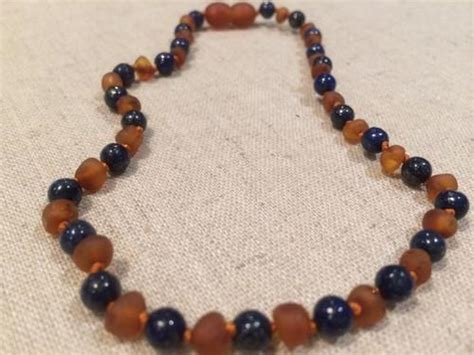 12.5 ADHD Teething Raw Cognac Lapis Lazuli Baltic Amber Necklace Baby