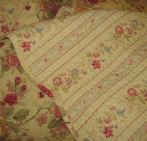Pale Blue Quilt by Pink Cabbage Roses On Pale Yellow Cotton Prewashed