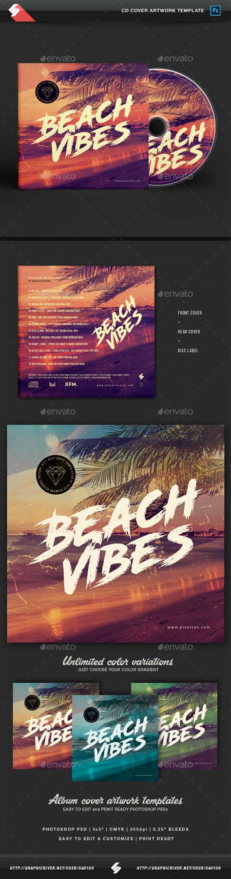 house music album covers beach vibes house music cd cover template by sao108 graphicriver