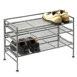 buy 3 shelf wooden metal shoe rack from bed bath beyond