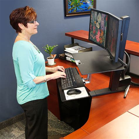 Ergonomic Desk Setup Two Monitors Ergotron 33 349 200 Workfit S Adjustable Standing Desk Mount Computer Workstation