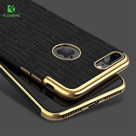 Iphone 7 8 Baseus Plaid Luxury Back Cover floveme luxury plating soft cases for iphone 7 7 plus gold black thin back phone for apple