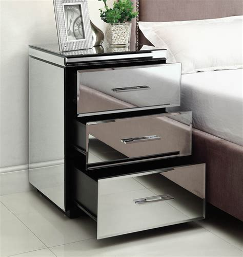 3 drawer mirrored nightstand rio mirrored bedside table chest nightstand 3 drawer