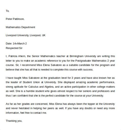 Recommendation Letter For Academic Letter Of Recommendation For College 10 Documents In Pdf Word