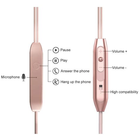 metal earphone stereo magnetic dengan microphone pink