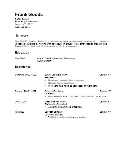 functional resume for general labor
