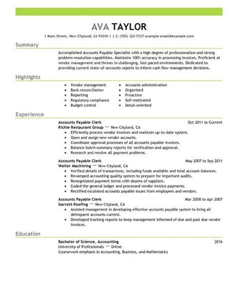 Resume Sles Accounts Payable Best Accounts Payable Specialist Resume Exle Livecareer