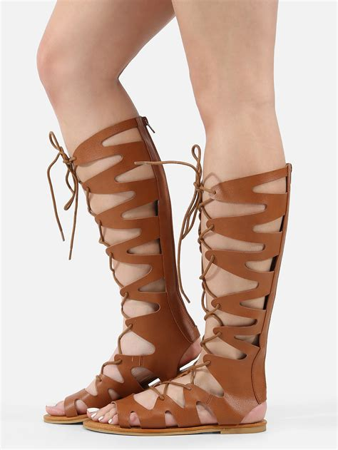 gladiator sandals lace up knee high lace up gladiator sandals makemechic