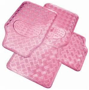 Car Floor Mats Pink Pink Checker Plate Style Rubber Car Floor Mat Mats Set Ebay