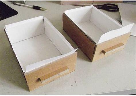 How To Make Paper Drawers - diy cardboard desktop organizer with drawers home diy