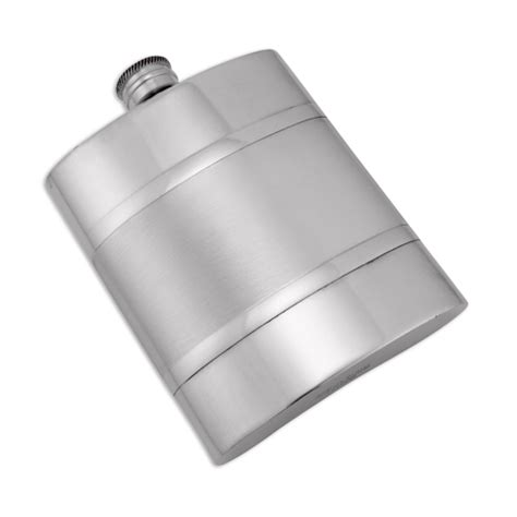 Handmade Pewter Flask - 6oz handmade pewter hip flask with satin band