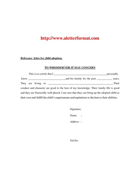 Reference Letter Format For Adoption Adoption Reference Letter Exle Cover Letter Exle