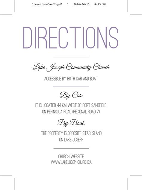 direction cards template free wedding invitation directions card wedding reception