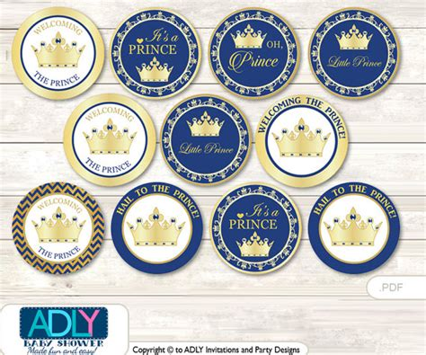 free printable crown cupcake toppers items similar to crown prince cupcake toppers for baby
