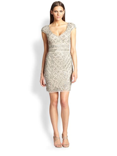 beige beaded cocktail dress lyst theia beaded cocktail dress in