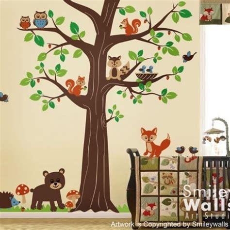 woodland animals wall stickers woodland forest animal friends tree nursery vinyl