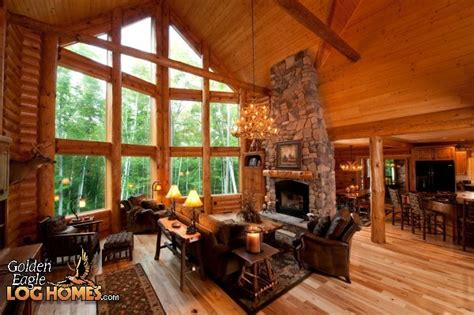 log cabin great room pictures love this open plan windows and fireplace log cabins