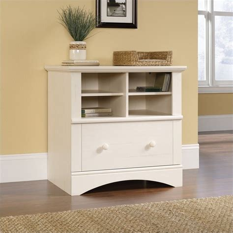 White Wood File Cabinet Sauder Harbor View 1 Drawer Lateral Wood File Antique White Filing Cabinet Ebay