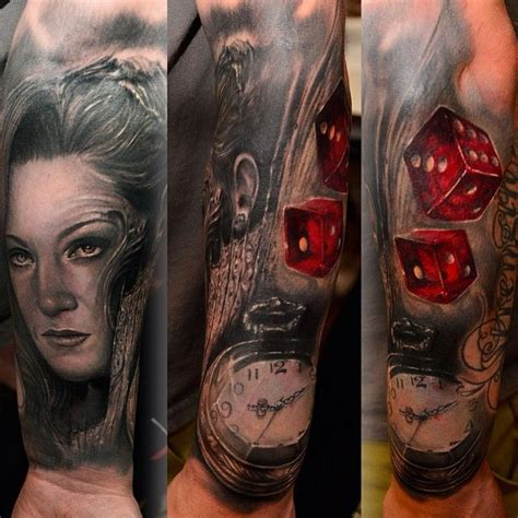 ryan hadley tattoo awesome blackandgrey sleeve with a peek of colortattoo