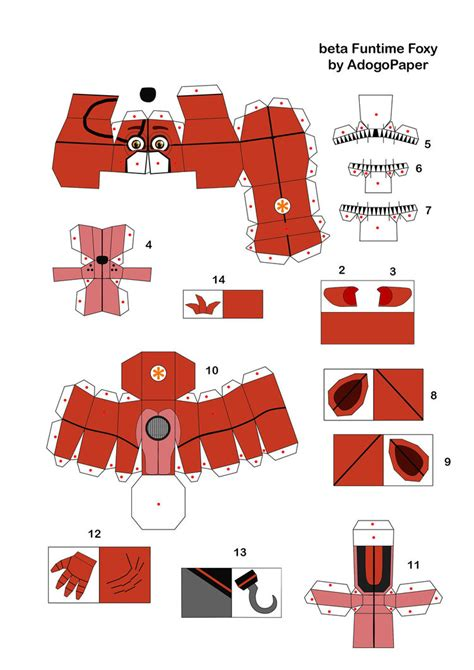 Papercraft For - funtime classic foxy papercraft part1 by jackobonnie1983