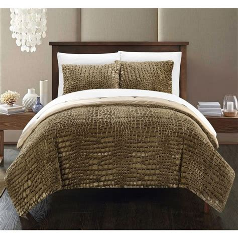 faux fur comforter queen chic home caimani gold faux fur queen 3 piece comforter