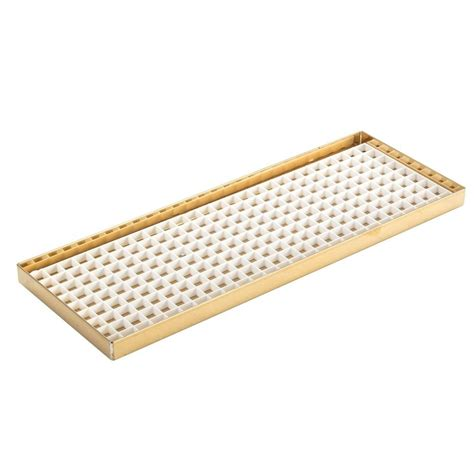 under drip tray 23 7 8 quot countertop drip tray brass finish with drain