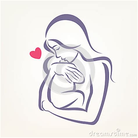mom and baby stylized vector symbol stock vector image