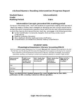 intervention report template reading resource intervention progress report template tpt