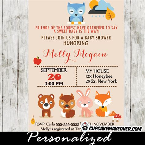 Woodland Themed Baby Shower Invitations woodland animals baby shower invitation personalized