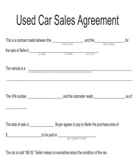 8 Sle Automobile Sales Contracts Sle Templates Used Car Agreement Template