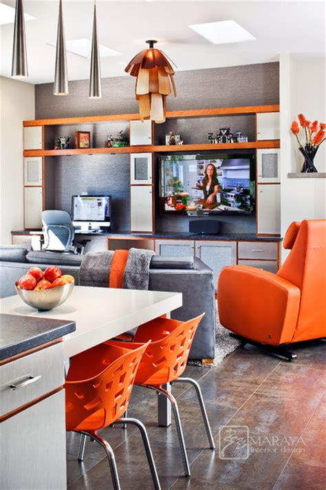 Santa Barbara Upholstery Supply Stainless Steel And Cherry Cabinets Midcentury Family