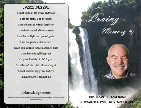 memorial card template memorial order of service program template waterfall