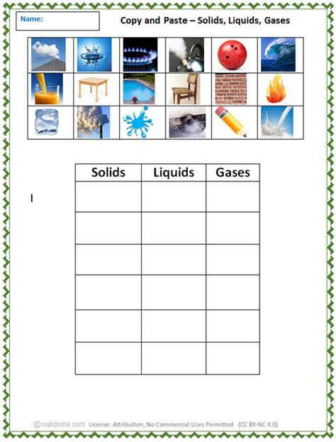 Solids Liquids And Gases Worksheets Middle School by Copy And Paste Solids Liquids Gases K 5 Computer Lab