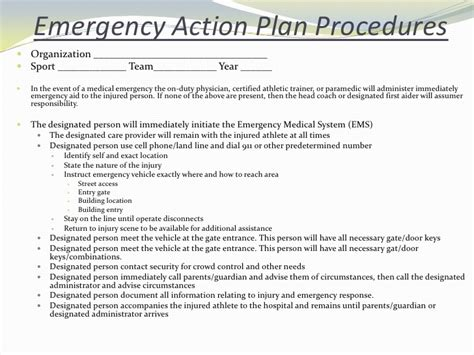 emergency plan template for sports emergency situations and injury assessmentsp2010 student