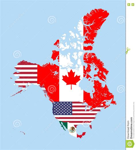 canada united states and mexico vector map combined with
