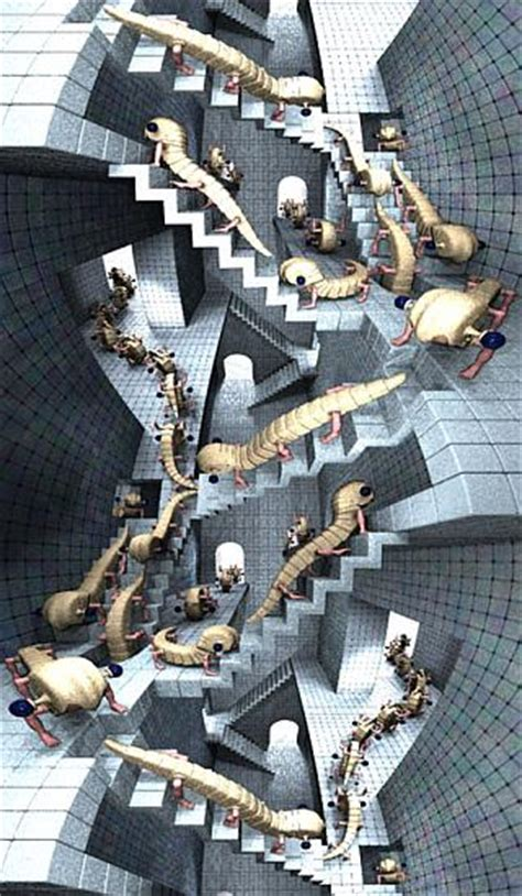 House Of Stairs by Atoz Rendered Escher Impossible World